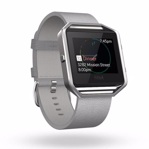 Fitbit Blaze Polsband Leather Mist Grey L