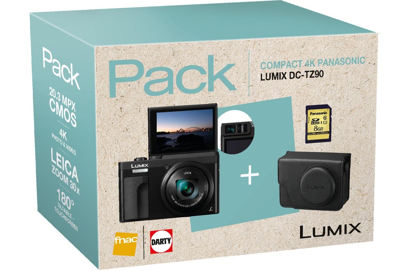 Panasonic compact camera LUMIX TZ90 INCL. TAS EN 8GB SD KAART