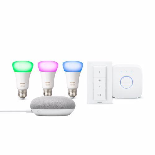 Philips Hue Color Starterkit + Google Home Mini (Wit)