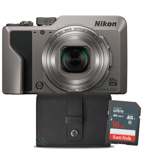 Nikon compact camera COOLPIX A1000 SILVER 16GB CASE