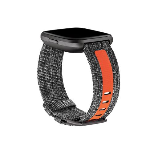 Fitbit Versa 2 geweven bandje Small (Grijs/Oranje)