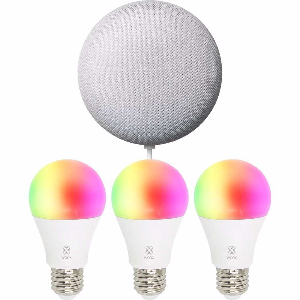 Woox sfeerverlichting Smart Bulb R4553 E27 3-PACK + Nest Mini