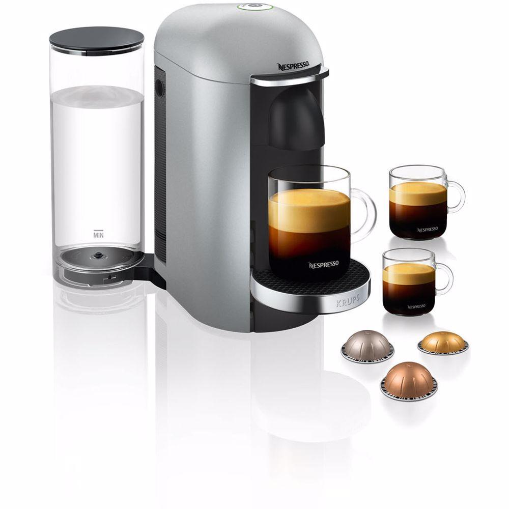 Nespresso Krups koffieapparaat VertuoPlus Deluxe Rond (Zilver)