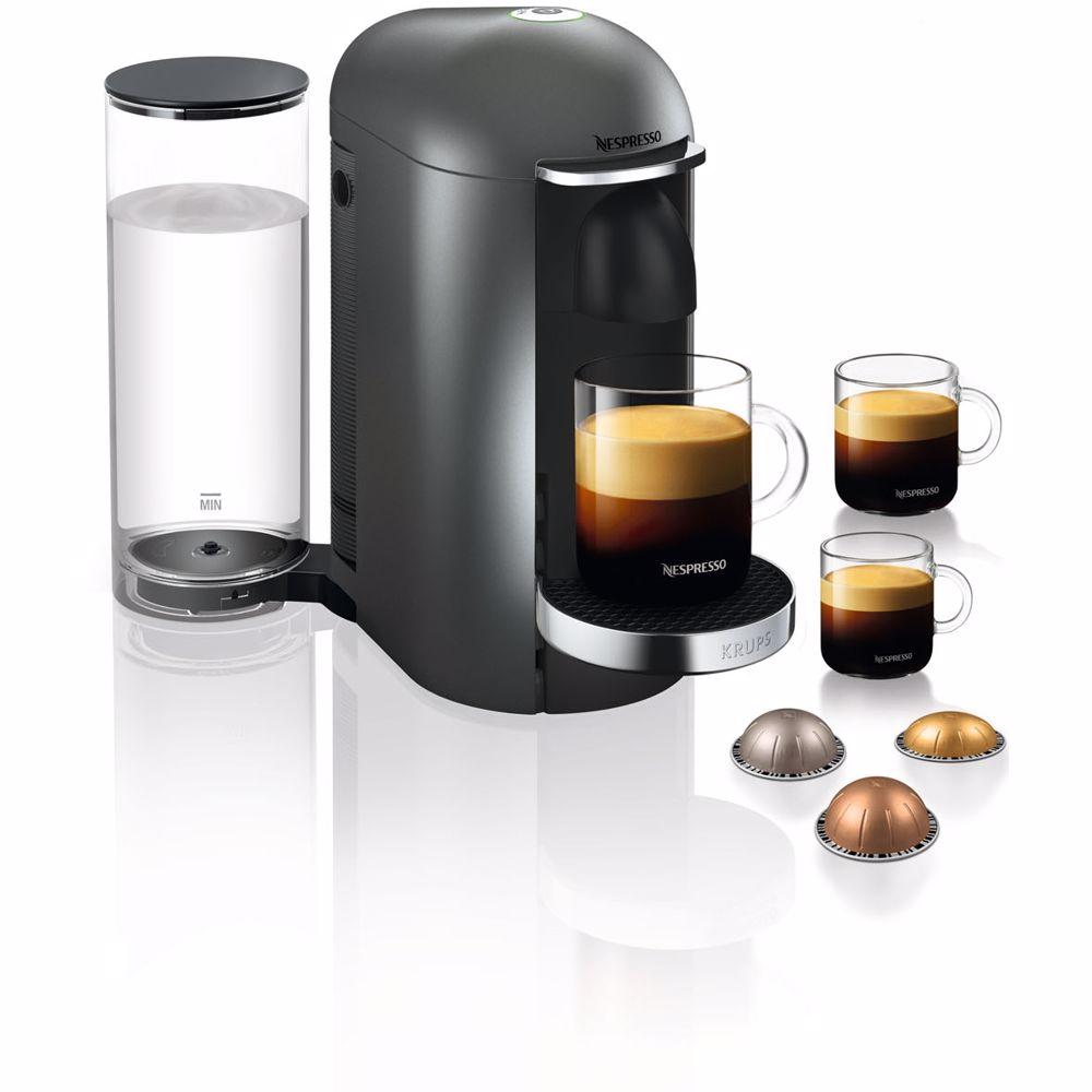 Nespresso Krups koffieapparaat VertuoPlus Deluxe Rond (Grijs)