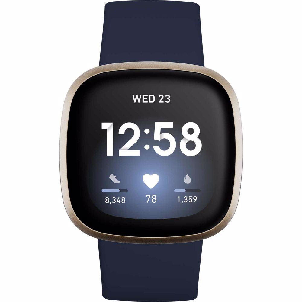 Fitbit smartwatch Versa 3 (Blauw/Goud)